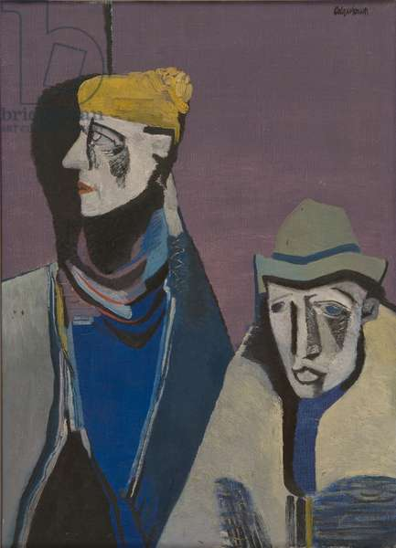 Two Irish People, 1947 (oil on canvas)