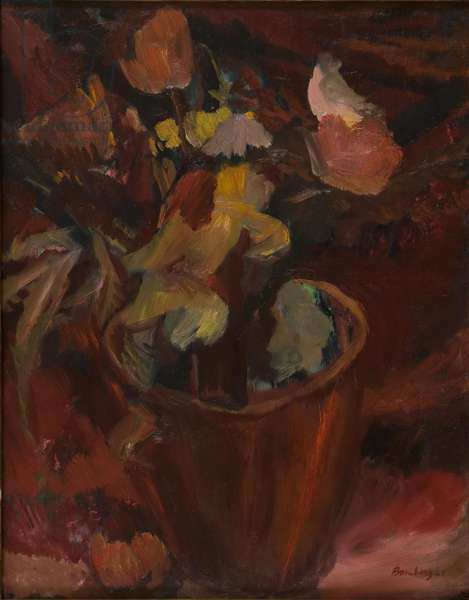 Flowers in a Terracotta Pot, 1945 (oil on linen or fine canvas laid down on panel)