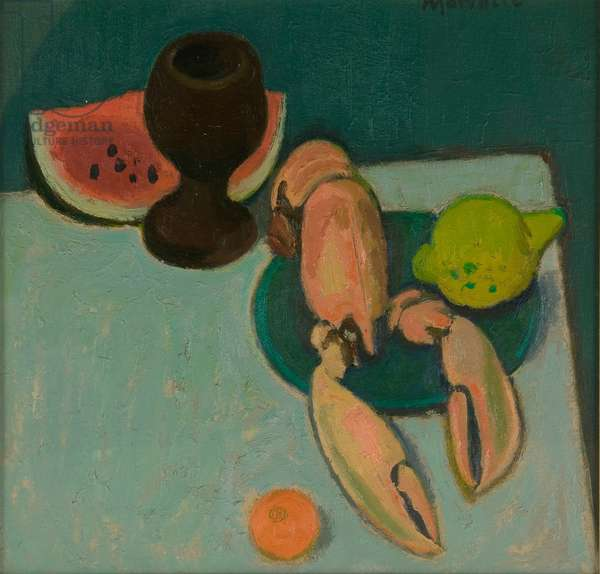 Still Life with Lobster and Watermelon, 1992 (oil on board)