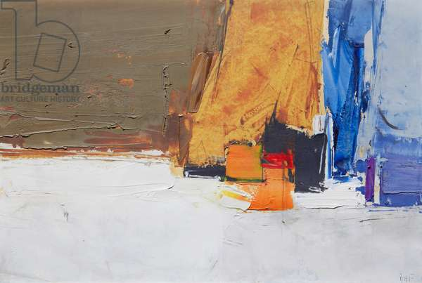 Composition, blue, orange and ochre (oil & paper laid on board)