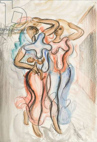 Two African Women, 1949 (charcoal & w/c on paper)