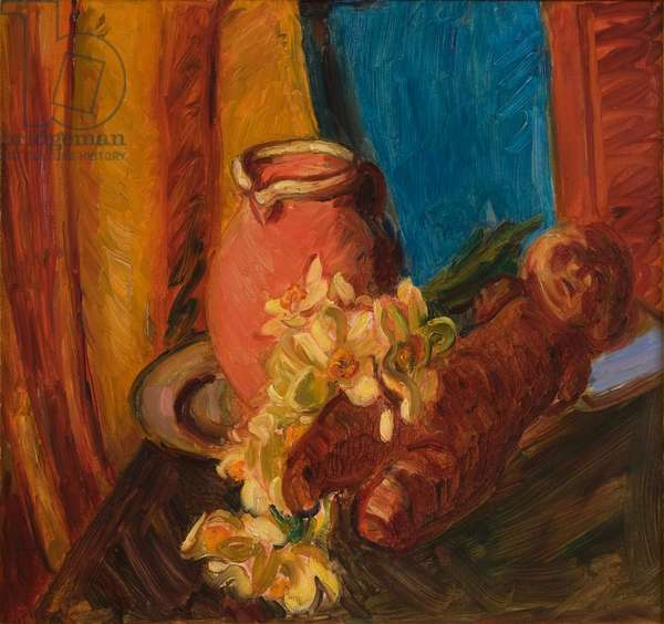 Narcissi and Carved and Wooden Figure, 1941 (oil on canvas)