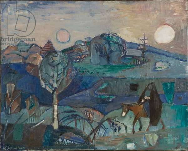 Landscape with a woman on a donkey, c.1960 (oil on canvas)