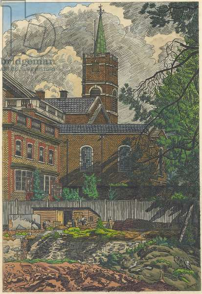 Hampstead Church, 1928 (pen, brush & black ink with watercolour on paper)