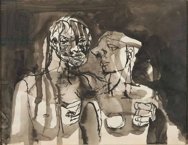 Two Figures, c.1946-47 (pen, brush, black ink & wash on paper)