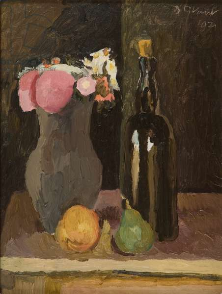 Still Life of Flowers with Bottle and Fruit, 1929 (oil on canvas board)