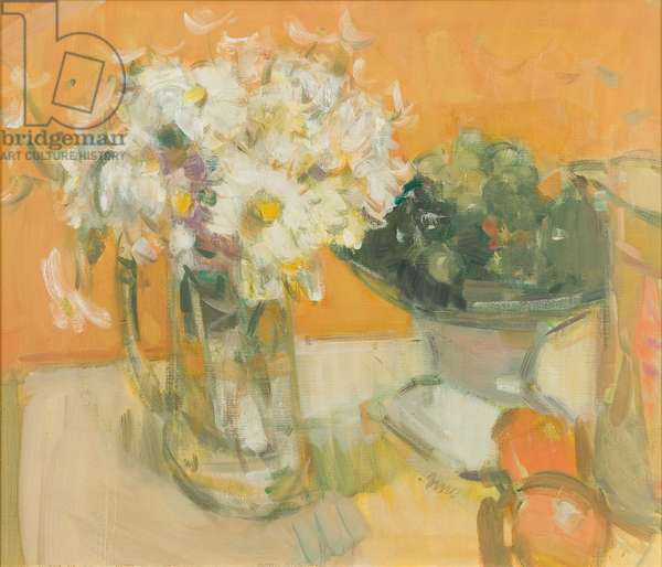 White Flowers and Grapes, 1993 (oil on canvas)