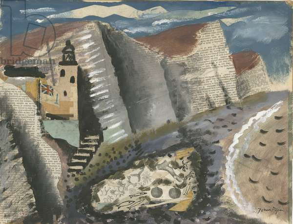 Beach and Star Fish, Seven Sisters Cliff, Eastbourne, 1933-34 (gouache, pen & ink with collage of paper and fabric on paper)