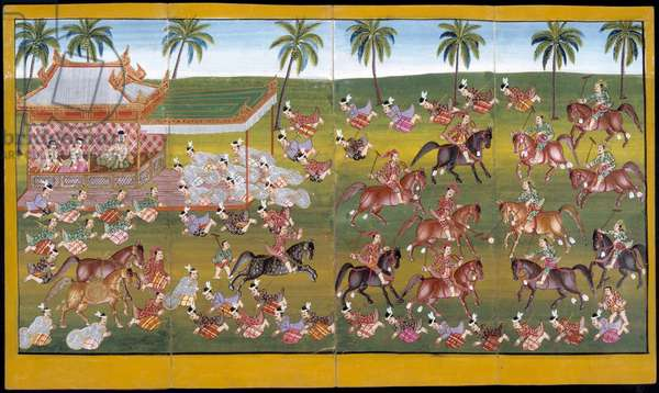 Ms 17 Soldiers playing polo (gouache on paper)