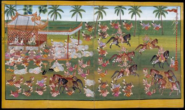 Ms 17 Soldiers on horseback demonstrate their skills in spearing (gouache on paper)