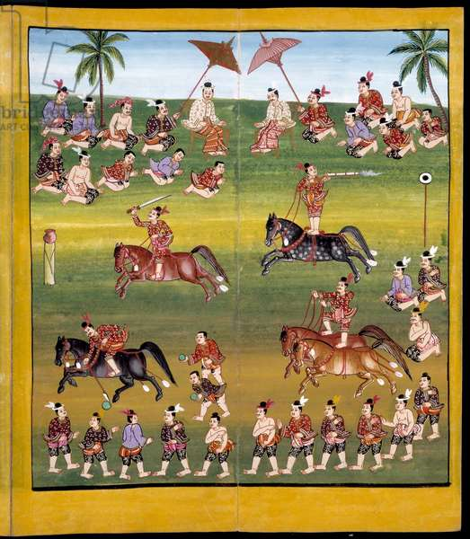 Ms 17 Soldiers on horseback demonstrate various skills, including shooting and two-horse bareback riding (gouache on paper)