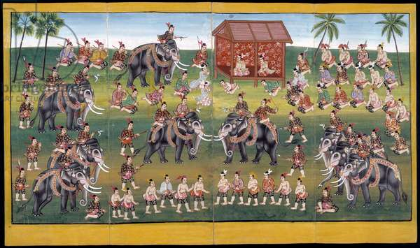 Ms 17 Soldiers riding elephants combat with spears (gouache on paper)