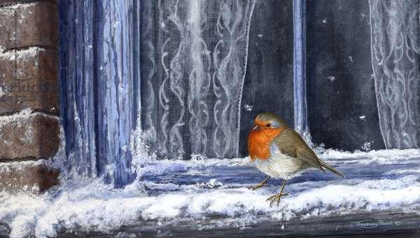Robin at the Window, 2003 (acrylic on board)