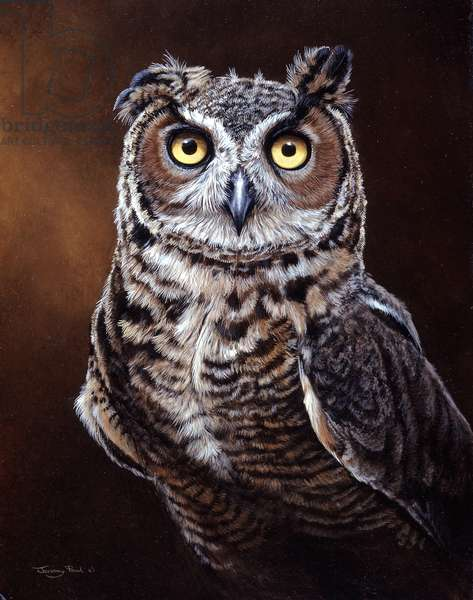Great Horned Owl. 1996, acrylic on board