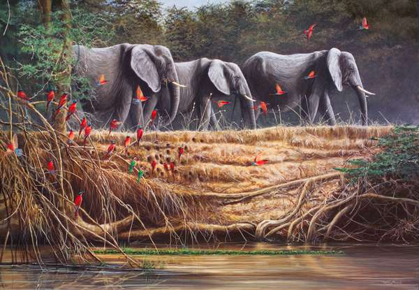 Passing By - Elephants and Carmine Bee-Eaters, 2004 (acrylic on board)