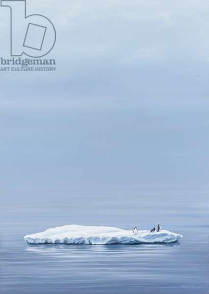 Between the Sea and Sky - Chinstrap Penguins, 2005 (acrylic on board)