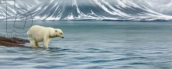 Polar bear -  long hard summer. acrylic on board 2017
