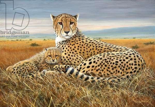 Cheetah and cub, acrylic on board, 2016