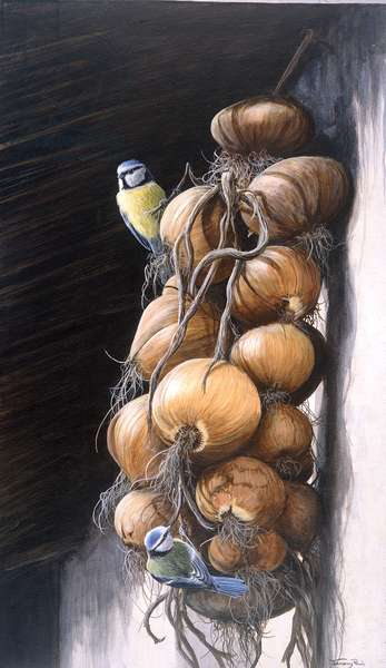 Blue tits and onions, 1998, acrylic on board