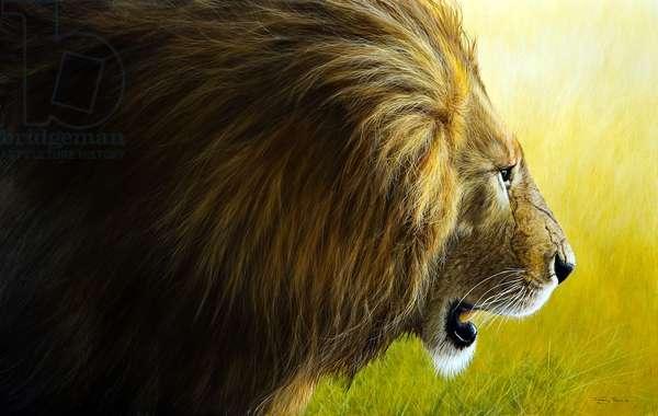 Enforcer, lion, 2015, acrylic on board