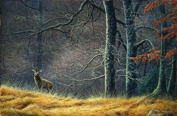 Woodland encounter, red deer, 1992 acrylic on board)