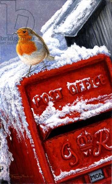 post box robin, 2015, acrylic on board