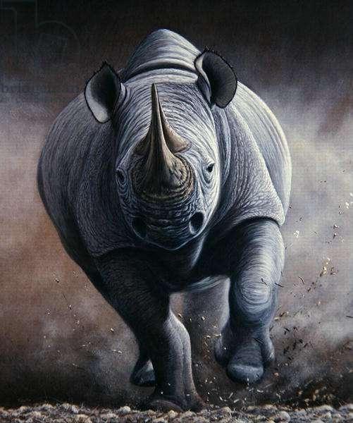 Time to Move, Black Rhino, 2000 (acrylic on board)