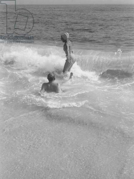 Tania Stern and W.H. Auden at the beach, Fire Island, New York, Summer 1946 (b/w photo)