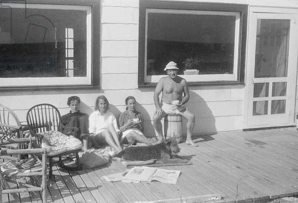 James and Tania Stern with Noemi Kenmore and her husband, Fire Island, New York, summer 1949 (b/w photo)