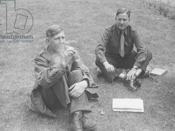W. H. Auden with a fellow Allied serviceman in Darmstadt, Germany, May 1945 (b/w photo)