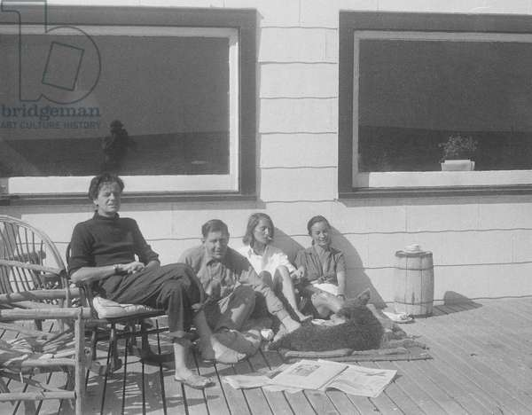 James and Tania Stern with W. H. Auden and Noemi Kenmore, Fire Island, New York, summer 1949 (b/w photo)