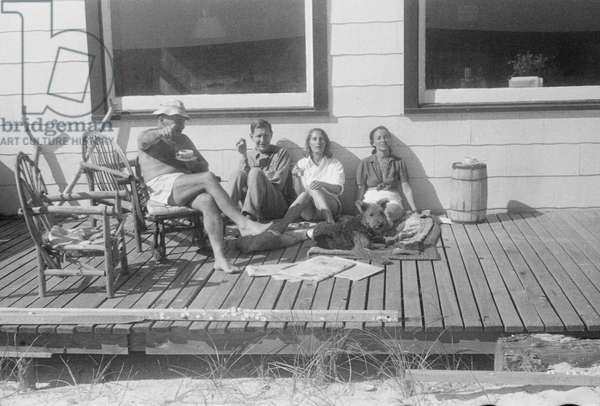 W. H. Auden with Tania Stern, Noemi Kenmore and her husband, Fire Island, New York, summer 1949 (b/w photo)