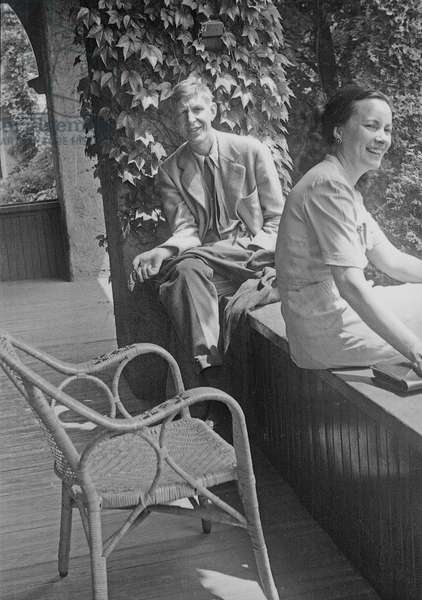 W.H. Auden and Tania Stern, 1940s (b/w photo)