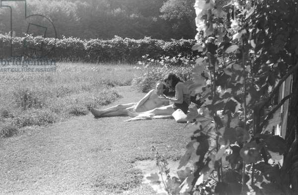 Relaxing in the garden at Green Cottage, Amenia, New York, summer 1941 (b/w photo)