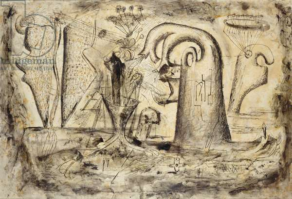 Obsequies of Time, 1933 (charcoal, pen, brush, ink & gum arabic on paper)