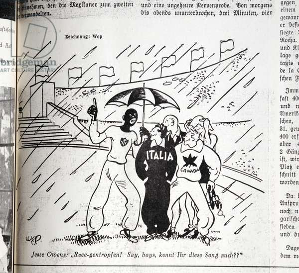 "'Jesse Owens: ""Raaa-indrops! Say, boys, do you know this song too?""', cartoon for the Olympia Zeitung, 1936 (litho)"