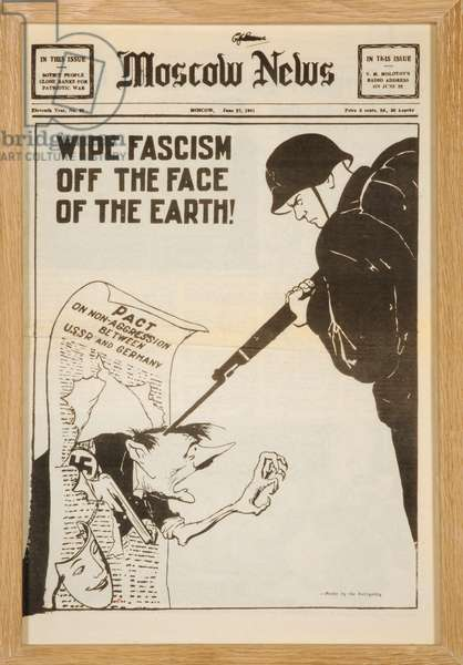 Wipe Fascism off the Face of the Earth!, front page of the 'Moscow News', 27th June 1941 (litho)