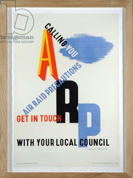 Poster for Air Raid Precautions, 1938 (colour litho)