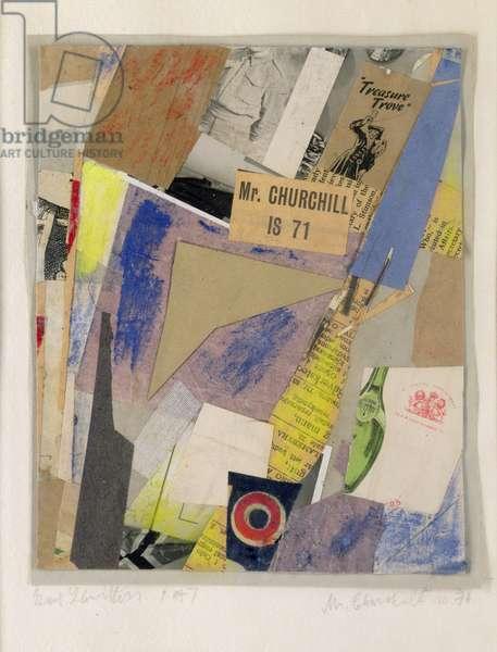 Mr. Churchill is 71, 1947 (collage & gouache)