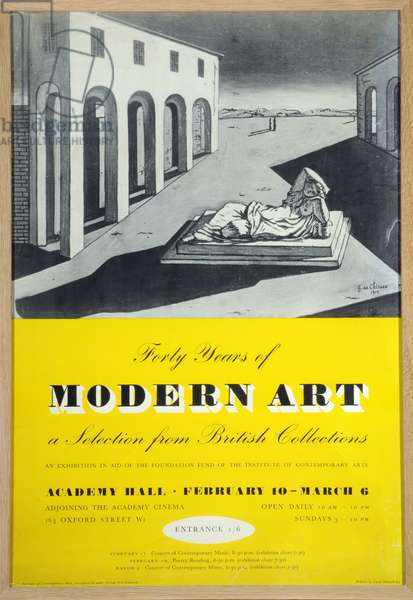Poster advertising 'Forty Years of Modern Art: A Selection from British Collections', exhibition at the Institute of Contemporary Arts, London, 1947 (colour litho)