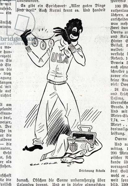 Caricature of Jesse Owens from Olympia Zeitung, 1936 (litho)