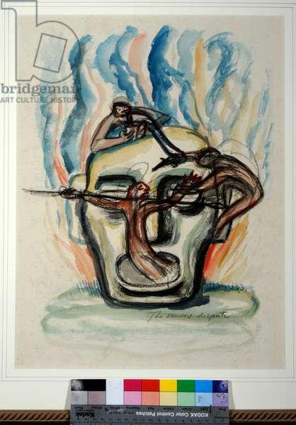 The Senses Dispute, 1933 (gouache, pencil & chalk on paper)