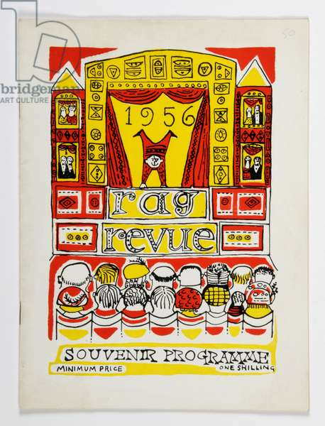 Front cover of a souvenir programme from the 'Rag Revue', 1956 (colour litho)