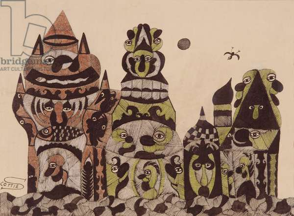 Town with Greedies, Moon and Bird (crayon, ink & gouache on paper)