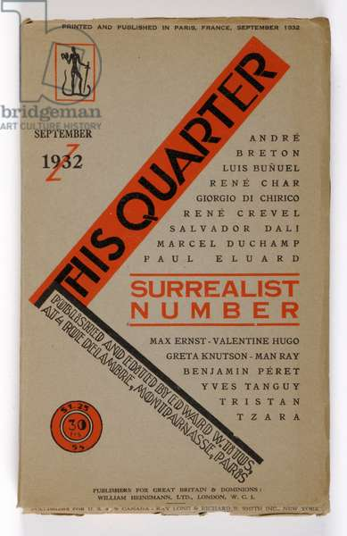 Surrealist Number, front cover of the English edition of 'This Quarter' September 1932 (colour litho)