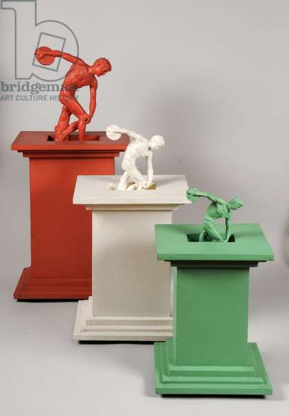 Myron's Discobolus Diminished, 1987 (resin casts & painted wood)