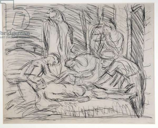 The Lamentation Over the Dead Christ (pencil on paper)