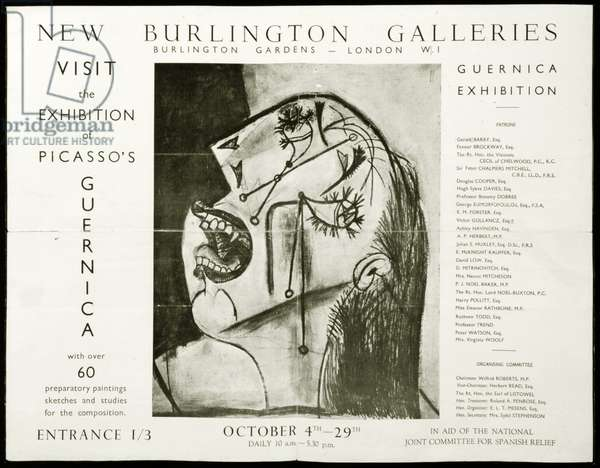 Leaflet for an exhibition of Picasso's 'Guernica' at the New Burlington Galleries, London, 1938 (litho) (see also 745796)