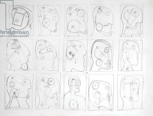 Preliminary sketches for 'Hypnosis' (pencil on paper)