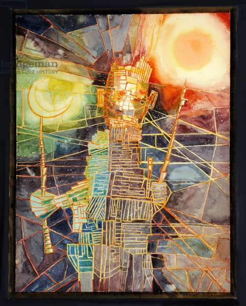 Man With His Own Sun and Moon, 1954 (w/c on paper)